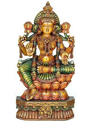 Four-Armed Goddess Lakshmi Seated on Lotus Throne