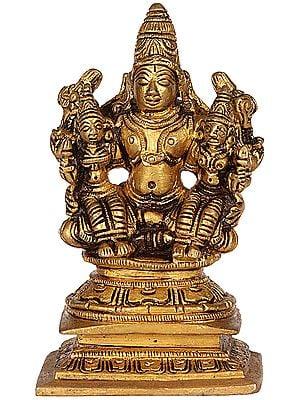Lord Vishnu with Bhudevi and Shridevi (Small Sculpture)