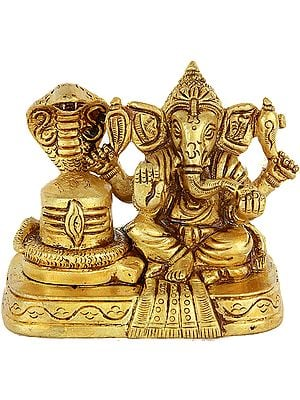 Lord Ganesha with Shiva Linga (Small Sculpture)