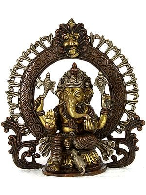 Seated Ganesha with Floral Aureole and Kirtimukha Atop
