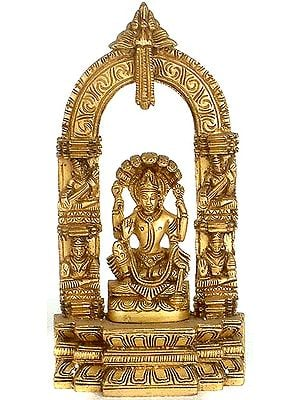 Lord Vishnu Seated on Sheshanaga with Musicians Carved on Aureole