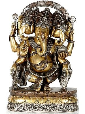Three Headed Dancing Ganesha