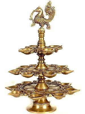 Three Layer Peacock Lamp