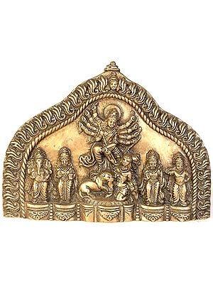 Wall Hanging Plate of Goddess Durga with Ganesha, Lakshmi, Saraswati and Karttikeya