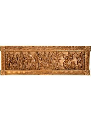 Wooden Panel of Brahmanical Deities (From the Left Doorkeeper, Mermaid, Vishnu, Garuda, Attendant, Vishnu Lakshmi, Brahma, Shri Krishna and Doorkeeper)