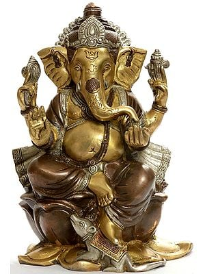 Kamalasana Ganesha with Om (AUM) and Trident Mark on Forehead