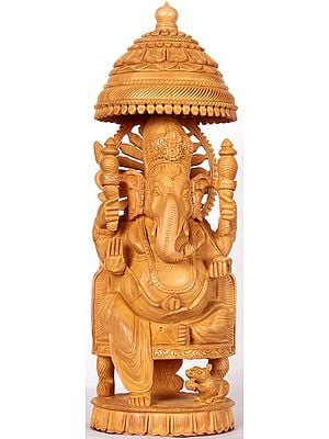 Enthroned Ganesha with Parasol