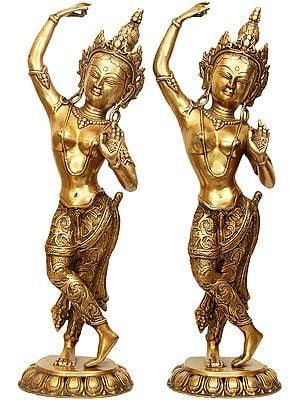 Tibetan Buddhist Mayadevi - The Mother of Shakyamuni Buddha (Pair of Two Symmetrical  Statues)