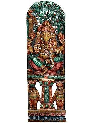 Lord Ganesha with Two Shiva Ganas