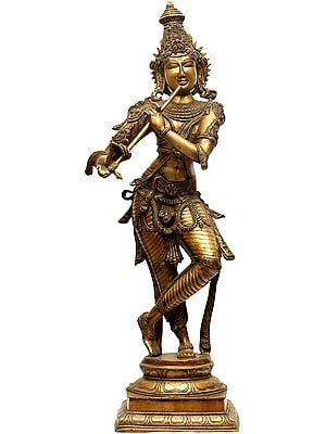 Large Size Krishna in 'Tri-bhang' Aspect