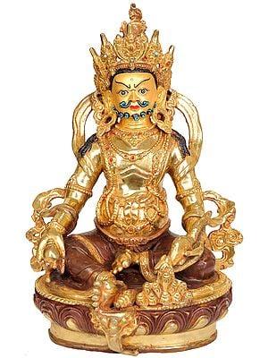 Tibetan Buddhist Kubera - God of Money with Mongoose Spitting Jewels