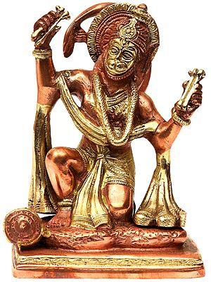 Shri Hanuman Ji Singing the Glory of Shri Rama Katha (In Copper and Gold Hue)