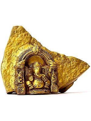 Rock Cut Temple of Lord Ganesha (Brass Statue)