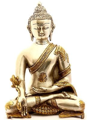 (Tibetan Buddhist Deity) The Medicine Buddha in Silver Hue with Golden Border Garment