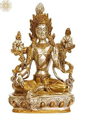 Tibetan Buddhist Savior Goddess Green Tara in Golden and Silver Hues