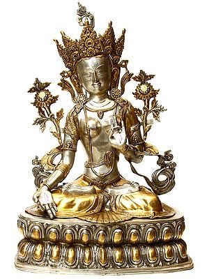 Large Size Goddess White Tara - Protects from Danger, Distress and Bestows a Long Life on Her Devotees (Tibetan Buddhist Deity)