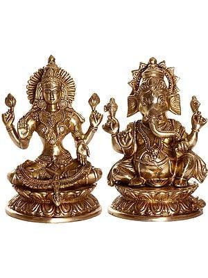 Kamalasana Lambodara Ganesha and Lakshmi
