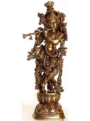 Enrapt Krishna Playing on Flute