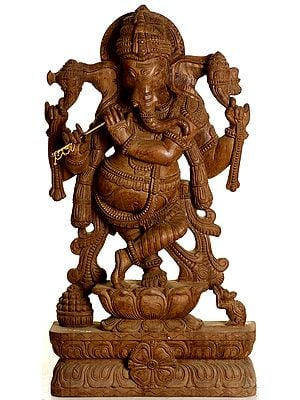 Enrapt Ganesha Blowing His Flute