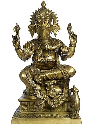 Large Size Four Armed Ganesha Seated in Lalitasana