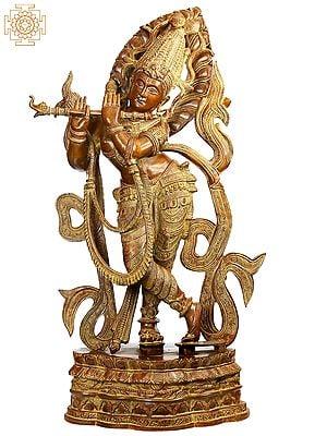 Large Size Venu Gopal: The Enrapt Player of Flute
