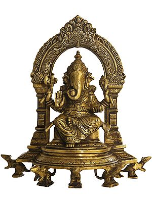 Lord Ganesha Seated on Throne Supported by Five Rats with Ornate Aureole