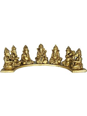 Seven Musical Ganesha in a Concert