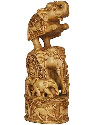 Elephant on Elephant (Handcrafted Statue from Jaipur)