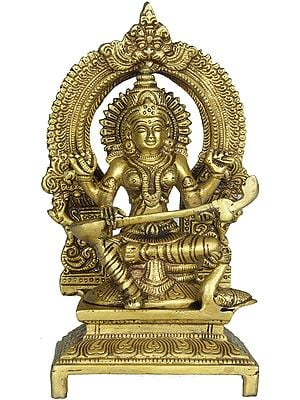 Goddess Saraswati Seated on Throne with Floral Aureole