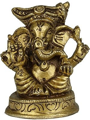 Four Armed Turbaned Ganesha (Small Sculpture)