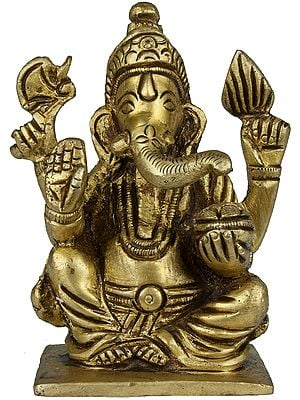 Four Armed Ganesha Seated in Easy Posture