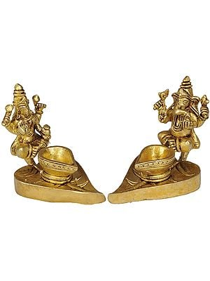 Lakshmi Ganesha Lamp on Pipal Leaf (Pair)