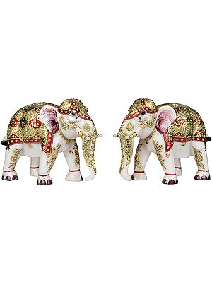 Decorated Royal Elephants Pair