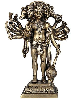 Five Headed Hanuman as Eleventh Rudra Standing on Lotus Pedestal