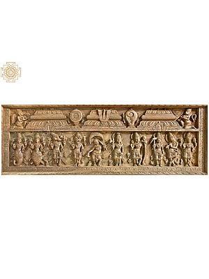 Dashavatara Panel (Ten Incarnations of Lord Vishnu - From the Left Matshya, Kurma, Varaha, Narasimha, Vaman, Parashurama, Rama, Balarama, Krishna and Kalki)