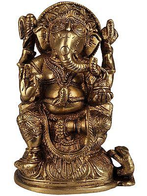 Lord Ganesha Seated in Lalitasansa on Lotus Throne
