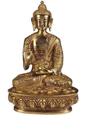 Tibetan Buddhist God Medicine Buddha Imparting Abhaya to His Devotees (Robes Decorated with the Scenes from the Life of Shakyamuni Buddha)