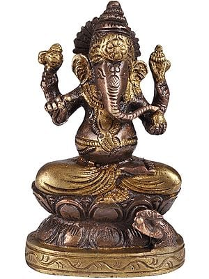 Four-Armed Seated Ganesha in Brown and Golden Hues