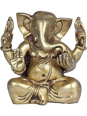 Four Armed Seated Ganesha with Trident Mark on Forehead