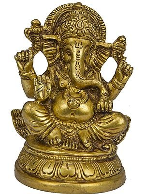 Four-Armed Ganesha Seated in Easy Posture on Lotus