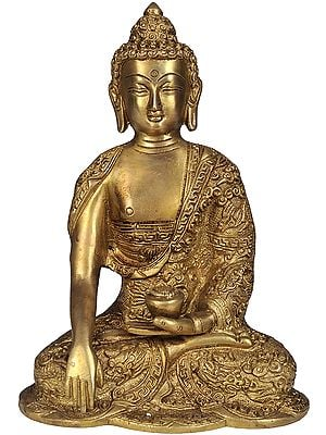 Lord Buddha in Bhumisparsha Mudra with Pindapatra (Robes Decorated with Auspicious Symbols)