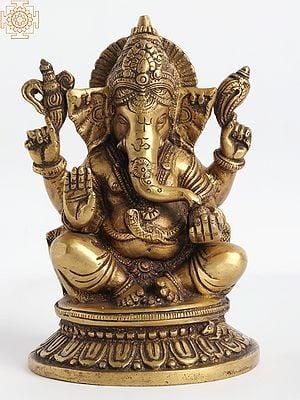 Four Armed Seated Ganesha Granting Abhaya