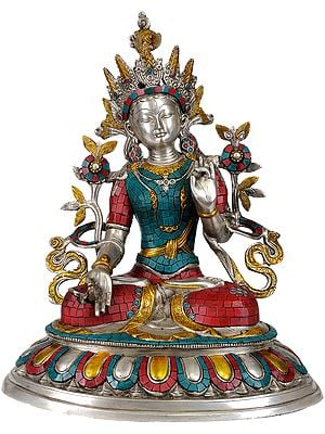 Tibetan Buddhist Deity- Goddess White Tara (In Silver Hue with Fine Inlay work)