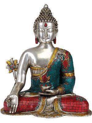 Tibetan Buddhist God Medicine Buddha -The Unfailing Healer of the Ills of Samsara (In Silver Hue with Fine Inlay Work)