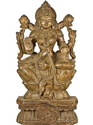 Large Size Four Armed Lakshmi Seated on Lotus Throne