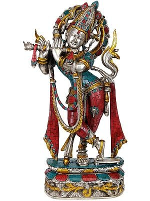Murali Krishna in Silver Hue with Coral and Turquoise Color Inlay Work