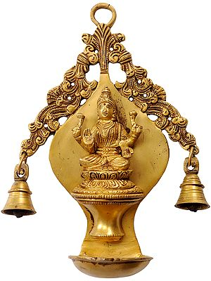 Goddess Lakshmi  Wall Hanging Lamp with Twin Bells