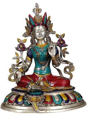 Tibetan Buddhist Deity- Goddess Green Tara in Silver Hue with Inlay Work