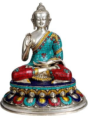 Lord Buddha Granting Abhaya (with Inlay Work)