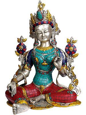 Tibetan Buddhist Goddess Green Tara (with Inlay Work)